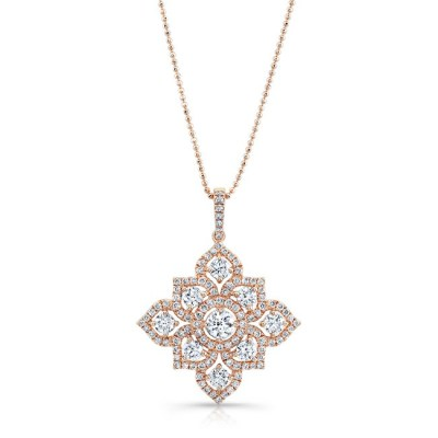 18K ROSE GOLD WHITE DIAMOND BLOSSOMING PENDANT FM31347 18R - 18K ROSE GOLD WHITE DIAMOND BLOSSOMING PENDANT FM31347-18R
