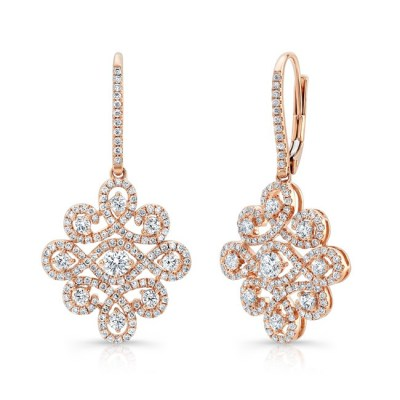 18K ROSE GOLD WHITE DIAMOND DROP EARRINGS FM31336 18R - 18K ROSE GOLD WHITE DIAMOND DROP EARRINGS FM31336-18R