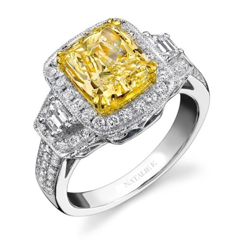 18K WHITE AND YELLOW GOLD TRAPEZOIDS DIAMOND RING NK12761FY WY - 18K WHITE AND YELLOW GOLD TRAPEZOIDS DIAMOND RING NK12761FY-WY