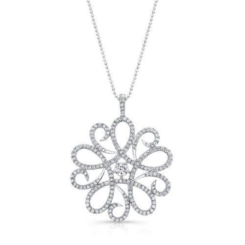 18K WHITE GOLD ABSTRACT SWIRLED FLOWER PENDANT FM29332 18W - 18K WHITE GOLD ABSTRACT SWIRLED FLOWER PENDANT FM29332-18W