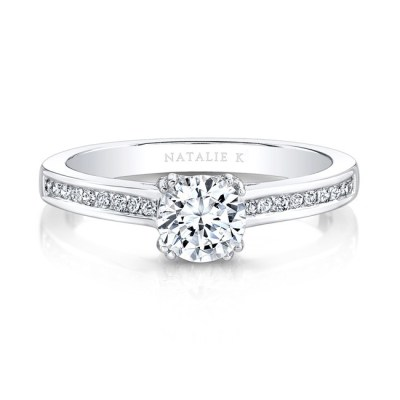 18K WHITE GOLD CHANNEL SET DIAMOND SHANK ENGAGEMENT RING FM27619 18W - 18K WHITE GOLD CHANNEL SET DIAMOND SHANK ENGAGEMENT RING FM27619-18W