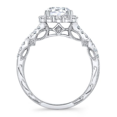 18K WHITE GOLD CUSHION SHAPE HALO CRISS CROSS ENGAGEMENT RING NK35971 W 1 - 18K WHITE GOLD CUSHION SHAPE HALO CRISS CROSS ENGAGEMENT RING NK35971-W