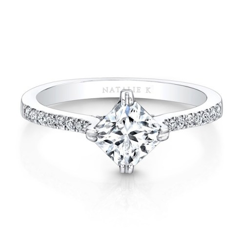18K WHITE GOLD DIAGONAL DIAMOND PRONG SETTING ENGAGEMENT RING FM26981 18W - 18K WHITE GOLD DIAGONAL DIAMOND PRONG SETTING ENGAGEMENT RING FM26981-18W