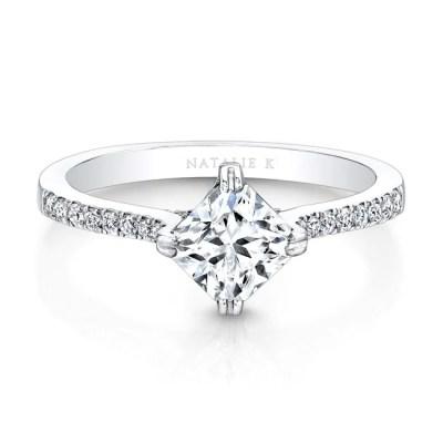 18K WHITE GOLD DIAGONAL DIAMOND PRONG SETTING ENGAGEMENT RING FM26981 18W - 18K WHITE GOLD DIAGONAL DIAMOND PRONG SETTING ENGAGEMENT RING FM26981-18W