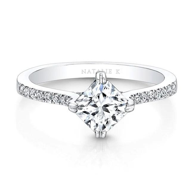 18K WHITE GOLD DIAGONAL DIAMOND PRONG SETTING ENGAGEMENT RING FM26981 18W - The Perfect Engagement ring set