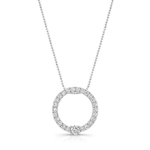 18K WHITE GOLD DIAMOND CIRCLE PENDANT FM29320 18W - 18K WHITE GOLD DIAMOND CIRCLE PENDANT FM29320-18W