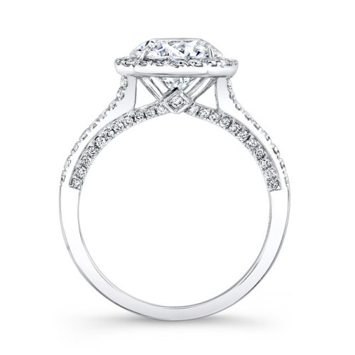 18K WHITE GOLD DIAMOND HALO AND GALLERY ENGAGEMENT RING FM26764 18W 1 - 18K WHITE GOLD DIAMOND HALO AND GALLERY ENGAGEMENT RING FM26764-18W