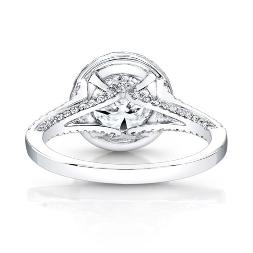 18K WHITE GOLD DIAMOND HALO AND GALLERY ENGAGEMENT RING FM26764 18W 2 - 18K WHITE GOLD DIAMOND HALO AND GALLERY ENGAGEMENT RING FM26764-18W