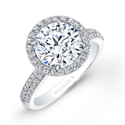 18K WHITE GOLD DIAMOND HALO ENGAGEMENT RING FM26767 18W - 18K WHITE GOLD DIAMOND HALO ENGAGEMENT RING FM26767-18W