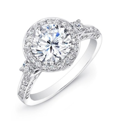 18K WHITE GOLD DIAMOND HALO THREE STONE ENGAGEMENT RING FM27664 18W - 18K WHITE GOLD DIAMOND HALO THREE STONE ENGAGEMENT RING FM27664-18W