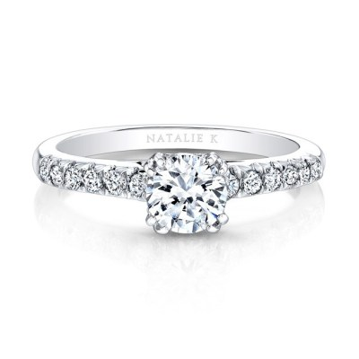 18K WHITE GOLD ELONGATED DIAMOND ACCENTED SHANK ENGAGEMENT RING FM27642 18W - 18K WHITE GOLD ELONGATED DIAMOND ACCENTED SHANK ENGAGEMENT RING FM27642-18W