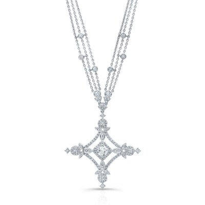 18K WHITE GOLD FOREVERMARK® DIAMOND CROSS NECKLACE FM32351 18W - 18K WHITE GOLD FOREVERMARK® DIAMOND CROSS NECKLACE FM32351-18W