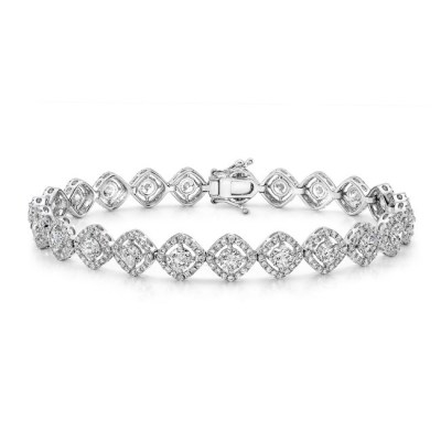 18K WHITE GOLD FOREVERMARK® DIAMOND DIAGONAL TENNIS BRACELET FM29389 18W - 18K WHITE GOLD FOREVERMARK® DIAMOND DIAGONAL TENNIS BRACELET FM29389-18W