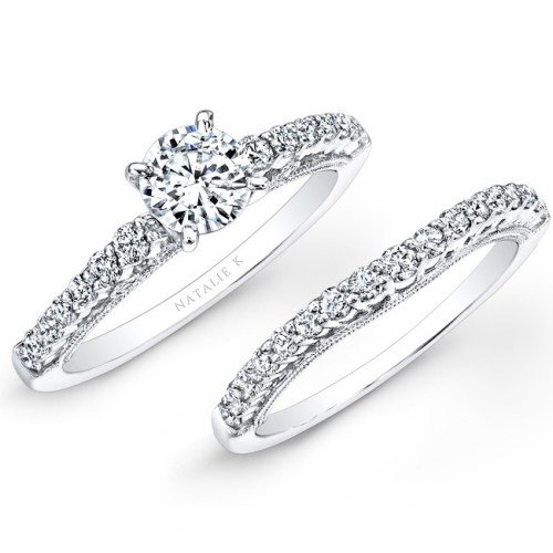18K WHITE GOLD PRONG SET WHITE DIAMOND BRIDAL SET NK25849WE W - 18K WHITE GOLD PRONG SET WHITE DIAMOND BRIDAL SET NK25849WE-W