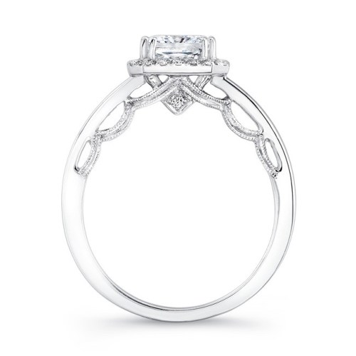 18K WHITE GOLD SCALLOPED DETAIL GALLERY DIAMOND HALO ENGAGEMENT RING FM27153 18W 2 - 18K WHITE GOLD SCALLOPED DETAIL GALLERY DIAMOND HALO ENGAGEMENT RING FM27153-18W