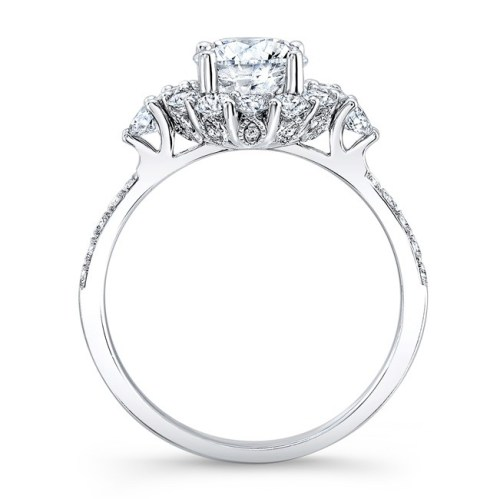 18K WHITE GOLD SINGLE PRONG DIAMOND HALO ENGAGEMENT RING WITH SIDE STONES NK29624 18W 1 - 18K WHITE GOLD SINGLE PRONG DIAMOND HALO ENGAGEMENT RING WITH SIDE STONES NK29624-18W