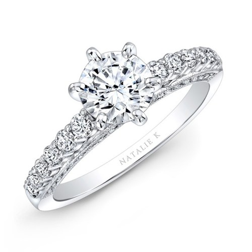 18K WHITE GOLD SIX PRONG CENTER MOUNTING DIAMOND GALLERY ENGAGEMENT RING NK27715 18W - 18K WHITE GOLD SIX PRONG CENTER MOUNTING DIAMOND GALLERY ENGAGEMENT RING NK27715-18W