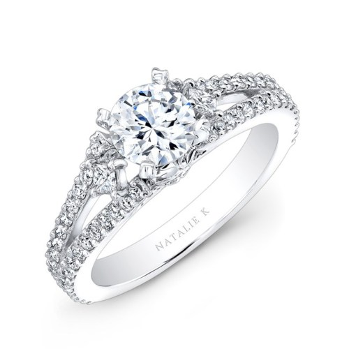 18K WHITE GOLD SPLIT SHANK PAVE DIAMOND SEMI MOUNT ENGAGEMENT RING WITH SIDE TRAPEZOID DIAMONDS NK23466 W 2 - 18K WHITE GOLD LARGE PRONG DIAMOND SEMI MOUNT NK25245-W
