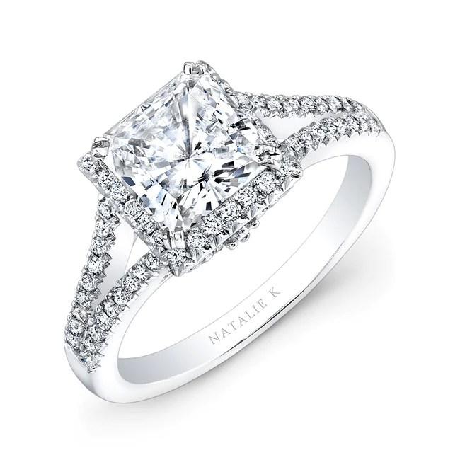 18K WHITE GOLD SPLIT SHANK SQUARE HALO ENGAGEMENT RING FM28085 18W - White Gold Engagement Rings Dallas