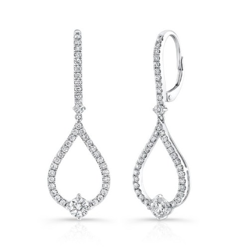 18K WHITE GOLD TEAR DROP DIAMOND DROP EARRINGS FM29015 18W - 18K WHITE GOLD TEAR DROP DIAMOND DROP EARRINGS FM29015-18W