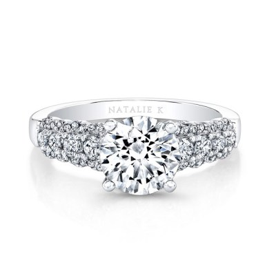 18K WHITE GOLD THICK PRONG SET DIAMOND BAND ENGAGEMENT RING FM26986 18W - 18K WHITE GOLD THICK PRONG SET DIAMOND BAND ENGAGEMENT RING FM26986-18W