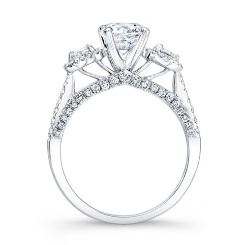 18K WHITE GOLD THREE STONE DIAMOND ENGAGEMENT RING WITH PEAR SHAPED SIDE STONES NK26293 W 1 - 18K WHITE GOLD THREE STONE DIAMOND ENGAGEMENT RING WITH PEAR SHAPED SIDE STONES NK26293-W