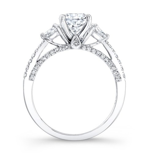 18K WHITE GOLD THREE STONE DIAMOND ENGAGEMENT RING WITH PEAR SHAPED SIDE STONES NK26627 18W 1 - 18K WHITE GOLD THREE STONE DIAMOND ENGAGEMENT RING WITH PEAR SHAPED SIDE STONES NK26627-18W