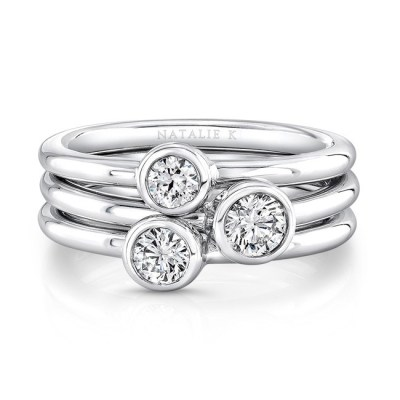18K WHITE GOLD THREE STONE STACKABLE BANDS FM29106 18W - 18K WHITE GOLD THREE STONE STACKABLE BANDS FM29106-18W