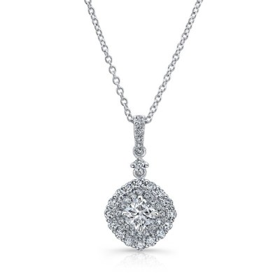 18K WHITE GOLD WHITE DIAMOND DOUBLE CUSHION HALO PENDANT FM31666 18W - 18K WHITE GOLD WHITE DIAMOND DOUBLE CUSHION HALO PENDANT FM31666-18W