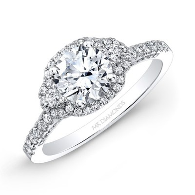 18K WHITE GOLD WHITE DIAMOND HALO AND SIDE STONE ENGAGEMENT RING NK28702 18W - 18K WHITE GOLD WHITE DIAMOND HALO AND SIDE STONE ENGAGEMENT RING NK28702-18W