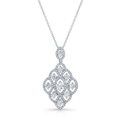 18K WHITE GOLD WHITE DIAMOND MARQUISE FRAME PENDANT NECKLACE FM31329 18W - 18K WHITE GOLD WHITE DIAMOND MARQUISE FRAME PENDANT NECKLACE FM31329-18W