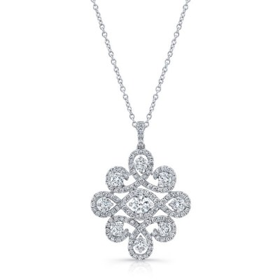18K WHITE GOLD WHITE DIAMOND PENDANT FM31343 18W - 18K WHITE GOLD WHITE DIAMOND PENDANT FM31343-18W