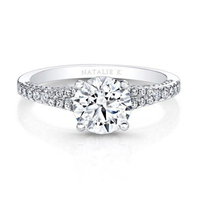 18K WHITE GOLD WHITE DIAMONDS SPLIT SHANK ENGAGEMENT RING FM26940 18W - 18K WHITE GOLD WHITE DIAMONDS SPLIT SHANK ENGAGEMENT RING FM26940-18W