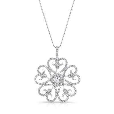 18K WHITE GOLD WHITE SWIRLING HEART DIAMOND PENDANT FM29334 W - 18K WHITE GOLD WHITE SWIRLING HEART DIAMOND PENDANT FM29334-W