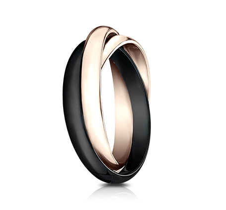 3MM ROSE GOLD AND CERAMIC COMBINATION BAND 130RR1CM2R 1 - 3MM ROSE GOLD AND CERAMIC COMBINATION BAND 130RR1CM2R
