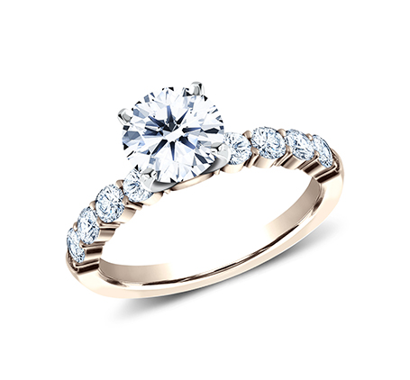 3MM ROSE GOLD SHARED PRONG ENGAGEMENT RING SPA8 LHRD100 R - 3MM ROSE GOLD SHARED PRONG ENGAGEMENT RING SPA8-LHRD100-R