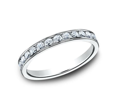 3MM WHITE GOLD CHANNEL SET DIAMOND BAND 513525W - 3MM WHITE GOLD CHANNEL SET DIAMOND BAND 513525W