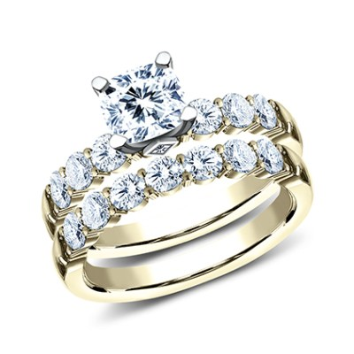 3MM YELLOW GOLD SHARED PRONG ENGAGEMENT SET SPA11 ACSET Y - 3MM YELLOW GOLD SHARED PRONG ENGAGEMENT SET SPA11-ACSET-Y