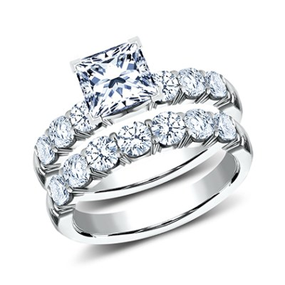 3mm White Gold Crescent Shared Prong engagement set CSPA16 LHPSet W - 3mm White Gold Crescent Shared Prong engagement set CSPA16-LHPSet-W