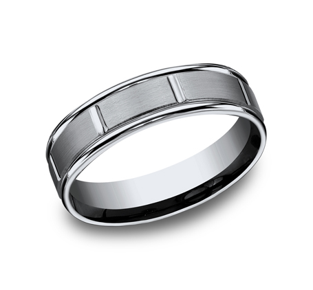 6MM TITANIUM BAND FEATURES A SATIN FINISHED RECF76452T - 6MM TITANIUM BAND FEATURES A SATIN-FINISHED RECF76452T