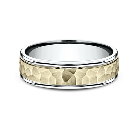 6MM TWO TONED CARVED DESIGN BAND CF176303 2 - 6MM TWO-TONED CARVED DESIGN BAND  CF176303