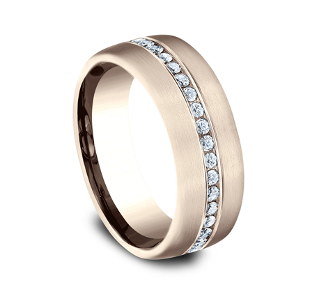 7.5MM ROSE GOLD SATIN FINISHED COMFORT FIT DIAMOND BAND CF717573R 1 - 7.5MM ROSE GOLD SATIN-FINISHED COMFORT-FIT DIAMOND BAND CF717573R