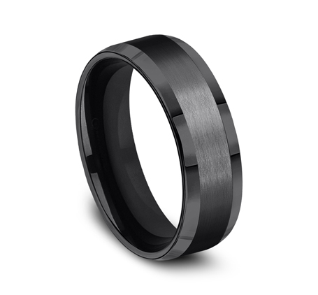 7MM BLACK TITANIUM COMFORT FIT SATIN FINISHED BAND CF67416BKT 1 - 7MM BLACK TITANIUM COMFORT-FIT SATIN-FINISHED BAND CF67416BKT