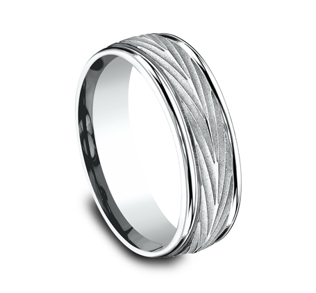 7MM WHITE GOLD COMFORT FIT BAND RECF77337W 1 - 7MM WHITE GOLD COMFORT-FIT BAND RECF77337W