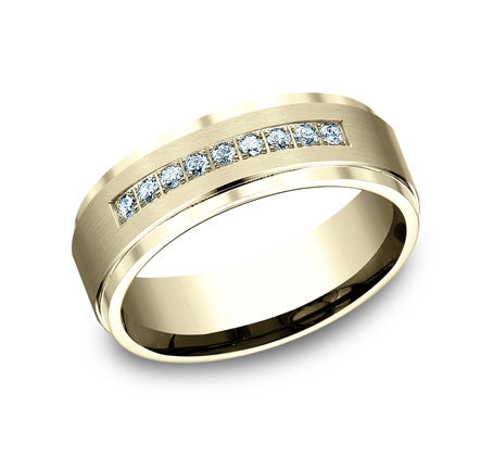 7MM YELLOW GOLD COMFORT FIT PAVE SET BAND CF67380Y - 7MM YELLOW GOLD COMFORT-FIT PAVE SET BAND CF67380Y