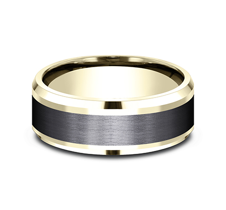 8MM 14K YELLOW GOLD AND BLACK TITANIUM DESIGN BAND CF448010BKTY 2 - 8MM 14K YELLOW GOLD AND BLACK TITANIUM DESIGN BAND CF448010BKTY