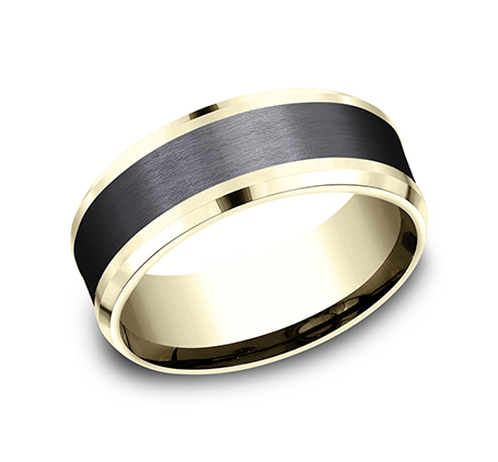 8MM 14K YELLOW GOLD AND BLACK TITANIUM DESIGN BAND CF448010BKTY - 8MM 14K YELLOW GOLD AND BLACK TITANIUM DESIGN BAND CF448010BKTY