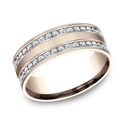 8MM COMFORT FIT CHANNEL SET BRUSHED DIAMOND ETERNITY BAND CF528551R - 8MM COMFORT-FIT CHANNEL SET BRUSHED DIAMOND ETERNITY BAND CF528551R