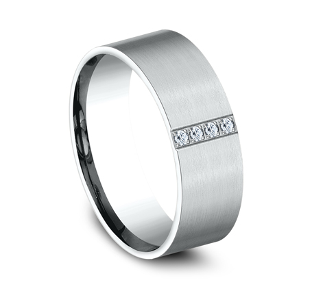 8MM COMFORT FIT PAVE SET SATIN FINISHED BAND CF528712W 1 - 8MM COMFORT-FIT PAVE SET SATIN-FINISHED BAND CF528712W