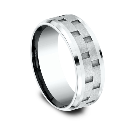 8MM WHITE GOLD DESIGN BAND CF408493W 1 - 8MM WHITE GOLD DESIGN BAND CF408493W
